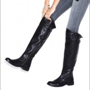 Fyre Shirley Over the Knee Leather Boot Black